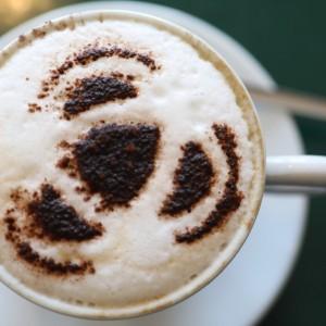 A cappuccino created by Ivan Stot  at the Olive Tree, Biggar Hellen Barrington
