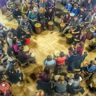 Biggar Community Drum Circle at Biggar Little Festival 2015
